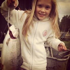 Tilde got a trout! #fishing#norway