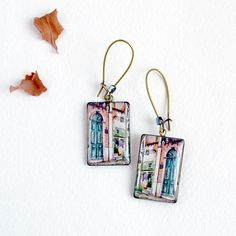 Lisbon earrings watercolor city jewelry green door by Nechegonadet