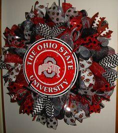 The Ohio State Mesh Wreath Football Wreath by StarlightWreaths Ohio State Wreath, Ohio State Football, Ohio State University, College Football, Football Decor, Football Wreath, Sports Wreaths, Mesh Wreaths, Chevron Ribbon