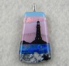 Scenic Layered Fuse Glass Pendant. A screen enamel lighthouse decal was fused on top.