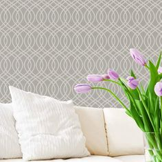 A Bari J Stencil Collection exclusive! A pretty modern trellis allover stencil with all the right curves! This allover stencil pattern is perfect for stenciling feature walls, but consider it for the