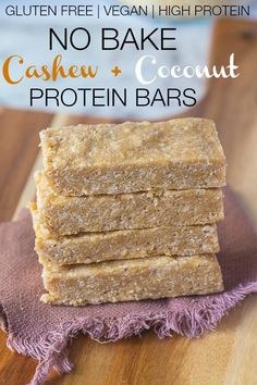 No Bake Cashew Coconut Protein Bars- these HEALTHY bars use 1 bowl and take 5 minutes to whip up- No food processor necessary! #glutenfree #vegan #highprotein and less than 80 CALORIES a bar! -thebigmansworld.com