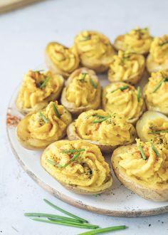 Deviled Potato Bites - All For Health Medium Recipe, Whole Food Recipes, Cooking Recipes, Vegetarian Recipes, Healthy Recipes, Fat Free Recipes, Vegan Meals, Potato Bites, Plant Based Eating
