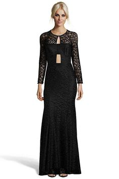 """DORVAL BLACK DRESS  was $575 now $173  LONG SLEEVE LACE PANELED GOWN WITH SHEER ARMS, CHEST AND BACK. DOUBLE KEY HOLE IN UPPER CHEST AND MIDRIFF WITH LACE PANEL BETWEEN. OPEN BACK CUT OUTS IN UPPER AND LOWER BACK WITH LACE PANEL IN MID SECTION WHERE BRA STRAP COULD BE COVERED.FULLY LINED SKIRT WITH HIDDEN ZIPPER BACK.   SHOULDER TO HEM MEASUREMENT 41.5"""" 98% POLYESTER 2% SPANDEX DRY CLEAN ONLY"""