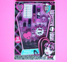 """Monster High Makeup Set - Draculaura Fangtastic Beauty Set 55 Pieces by Lotta Luv. $7.78. Adorable Monster High Draculaura beauty set!  Everything you need for a """"fangtastic"""" mani / pedi as well as lip gloss & eyeshadow.  Recommended for ages 8+ with parental supervision."""