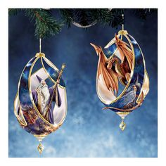 wizard and dragon ornaments
