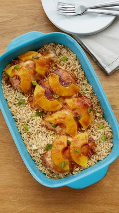 One-Dish Hawaiian Chicken Bake Recipe - This easy dinner packed with teriyaki chicken, rice and pineapple slices will be your new favorite summer casserole.