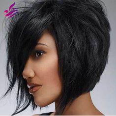 86.40$  Buy now - http://ali941.worldwells.pw/go.php?t=32506546705 - Short Wave Human Hair Bob Wig Cheap Brazilian Glueless Full Lace/Lace Front Human Hair Bob Wigs With Bangs For Black Women