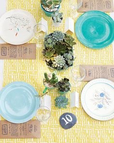 vintage china and painted rock table numbers!