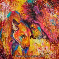 Peinture lion & lionne.