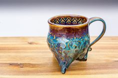 Tripod Mug glazed with Amaco PC