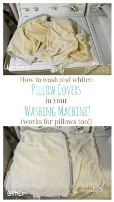 Did you know you can whiten pillow covers in your washing machine?! This tutorial shows you how, and they come out bright white like they're brand new again! Works for pillows too!