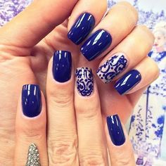 Unhas decoradas unhas perfeitas, unhas bonitas, ideias para unhas, belas un Love Nails, Fun Nails, Pretty Nails, Royal Blue Nails Designs, Nail Art Designs 2016, Nagel Stamping, New Nail Art, Prom Nails, Beautiful Nail Art