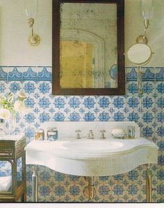 blue and white decorative tiled bath