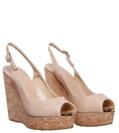 Jimmy Choo 'Prova' Nude Patent Leather Wedge - $438