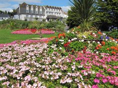 Queen Mary Gardens - Gyllngvase Beach, Falmouth. The old Falmouth Beach Hotel is in the background.