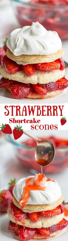 Strawberry Shortcake Scones-Sweet, ripe strawberries spooned between fluffy scone layers, then drizzled with the berry juices and topped with sweetened whipped cream - summer perfection! http://www.savingdessert.com