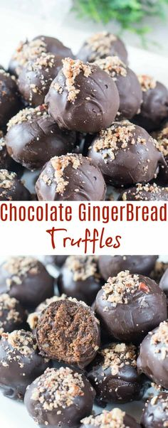 These Chocolate Gingerbread Truffles are made of gingerbread cookies. These truffles are perfect as Christmas gift or on your holiday cookies basket. Christmas Truffles, Christmas Desserts, Fun Desserts, Christmas Recipes, Christmas Foods, Christmas Cakes, Christmas Parties, Christmas Stuff, Christmas Baking