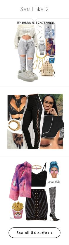 """""""Sets I like 2"""" by anonymous161 ❤ liked on Polyvore featuring Forever 21, Puma, MCM, Audemars Piguet, WithChic, Palm Beach Jewelry, Balmain, T By Alexander Wang, Liska and Judith Leiber"""