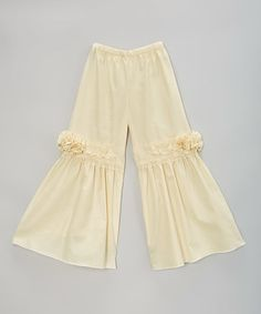 Another great find on #zulily! Ivory Floral Palazzo Pants - Infant, Toddler & Girls #zulilyfinds