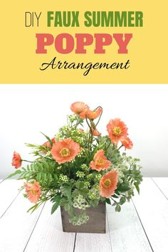 This stunning summer floral arrangement makes a wonderful Mother's Day gift. The sweet and delicate poppy flowers contrast beautifully against the faux greenery. Get the how to instructions and craft up the prefect center piece for your Mother's Day brunch!