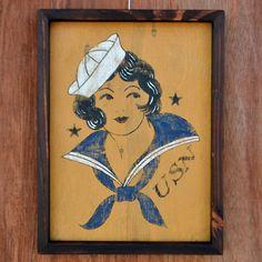 USN Navy Girl Tattoo Framed Art Sailor Jerry by Tabooisland, $50.00