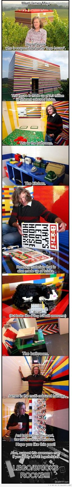 Lego House - Built by James May (of Top Gear fame) this real-life Lego house is both a masterpiece and May's dream come to life. May came up with the idea for a Lego house after a conversation with friends at the pub. They were talking about what they would have built with Lego as kids, if they had had enough bricks, simply because your imagination is generally bigger than the resource available!