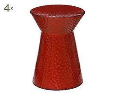 4 Tabourets CHI métal, rouge - H46