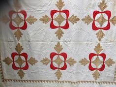 Antique Applique Turkey Red Quilt , eBay, redparrotgal2