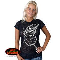 Hot Leathers Ladies One Wing Butterfly Short Sleeve Burnout Tee #HotLeathers