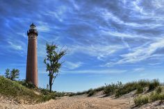 Little Sable Point Lighthouse:  The Little Sable Point Light is a lighthouse located south of Pentwater in the lower peninsula of the U.S. state of Michigan. It is in the southwest corner of Golden Township, just south of Silver Lake State Park.