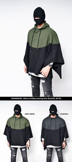 Outerwear :: Conrast Poncho Cape Hood-Jacket 196 - Mens Fashion Clothing For An Attractive Guy Look