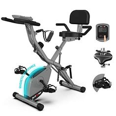 """Amazon has the BARWING 16-8-2-3 Foldable Exercise Stationary Bike, 3-IN-1 Magnetic Upright Workout Bike with Arm Exercise Resistance Bands and Ankle Strap for Home Gym marked down from $269.98 to $194.99. That is 28% off retail price! TO GET THIS DEAL: GO HERE to go to the product page and click on """"Add to Cart""""… Yoga Equipment, No Equipment Workout, Fitness Equipment, Folding Exercise Bike, Apple Watch Fitness, Indoor Cycling Bike, Recumbent Bike Workout, Body Training, Workout Pictures"""