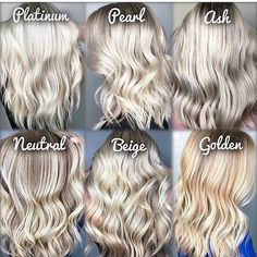 Which blonde are you? Hes an idea of upkeep to keep your blondes looking perfect. Platinum Pearl and Ash Blondes have the biggest commitments. We recommend leaving your highlights no longer than and using a blonde toning shampoo at home. These colou Beige Blonde Hair, Pearl Blonde, Platinum Blonde Hair, Blonde Color, Cool Toned Blonde Hair, Toning Blonde Hair, Natural Ash Blonde, Light Blonde, Platinum Blonde Highlights