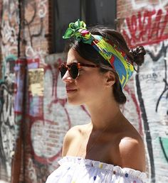 Trending Fashion Style: The Scarf. Leandra Medine A.K.A The Man Repeller in printed scarf headband, street style 2014.