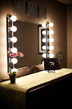 Old make-up mirror, love it! This is old Hollywood style the lighting would be awesome!!!!!