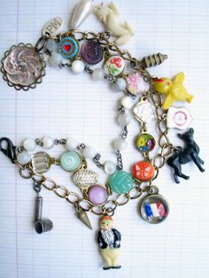 Paula Montgomery 3 Strands Charm Bracelet with Deer - vintage charm bracelet, repurposed multi strand bracelet with deer charm, bracelet with chicken, dragon, bug sprayer, dwarf