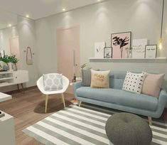 Ambientes decorados com candy colors decoraçao como decorar dicas de decorar como decorar Living Room Green, Paint Colors For Living Room, Living Room Modern, Living Room Sofa, Living Room Interior, Rugs In Living Room, Living Room Decor, Duck Egg Blue And Grey Living Room, Small Living