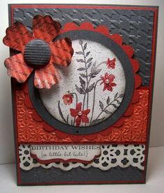 """SU Stamps: Just Believe, Flores suaves, Happiest Birthday Wishes(hostess); Ink: Basic Gray; Marker: Red Riding Hood; Paper: Whisper White, Basic Gray, Calypso Coral, Riding Hood Red; Accessories: 3"""" Circle Die, Fun Flowers Bigz™ L Die, Herringbone Emb. Folder, Snow Burst Emb. Folder, Decorative Label Punch, Lace Ribbon Border Punch, 2 ½"""" Circle Punch, Crimper, Color Spritz."""