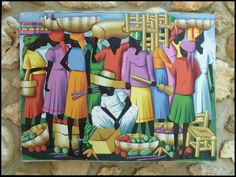 "Haitian Art - Original Painting - Brightly Colored Art of Haiti - Market Scene -  30"" x 40"". - $89.95 - To see more, visit us at www.HaitiGallery.com"