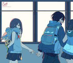 [September] Reaching Anime Couples Manga, Cute Anime Couples, Dark Art Illustrations, Illustration Art, Image Triste, Sun Projects, Fan Art Anime, Anime Kunst, Anime Crying