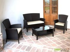 Set divano da giardino in rattan sintetico andresa polyrattan