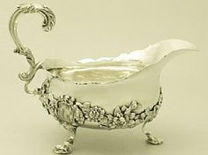 Sterling Silver Sauceboat by Charles Thomas Fox & George Fox - Antique Victorian Silver Enamel, 925 Silver, Silver Vases, Silver Jewelry, Fine Jewelry, Vintage Silver, Antique Silver, Mirror Jewelry Armoire, Silver Tea Set