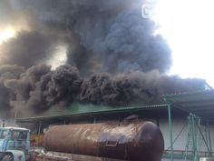 The building of vegetable company on fire