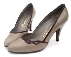 5b2e3284c5 Vintage 1980s Shoes Leather High Heel Pumps Gray Oxblood size 6 1 2