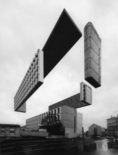 Espen Dietrichson, Variations On A Dark City The buildings of Lyon are pulled apart in these impossible photographs by Norwegian artist Espen Dietrichson. Dark City, Lyon, Bauhaus, Architecture Drawings, Architecture Visualization, Architecture Graphics, Concept Architecture, City Architecture, Creative Illustration
