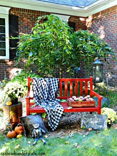Fall Red Painted Bench - Redhead Can Decorate