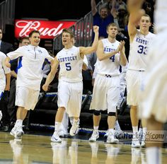 Kentucky Wildcats guard Jarrod Polson (5) and the rest of the bench react as the last second ticked off as the University of Kentucky defeated Maryland in the Barclays Center Classic held in the Barclays Center in Brooklyn, NY., Friday, November 9, 2012. UK won 72-69.