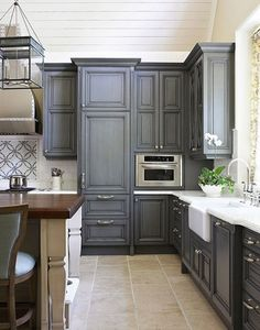 Like the gray painted cabinet look  Great alternative paint color for  cabinets instead of painting them white  black or staining interior design  designs  Shaker style kitchen cabinet painted in Benjamin Moore 1475  . Grey Kitchen Cabinet Ideas. Home Design Ideas