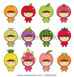 Illustration about Vector illustration set of kids in cute fruits costumes. Illustration of kids, childhood, dragonfruit - 69246381 Funny Drawings, Kawaii Drawings, Griffonnages Kawaii, Fruit Costumes, Cute Fruit, Baby Fruit, Kawaii Illustration, Kawaii Doodles, Banner Printing